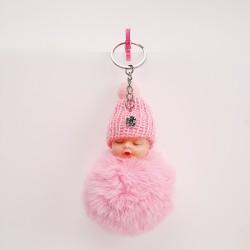 Bébé pompon porte-clés rose