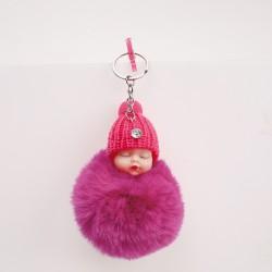 Bébé pompon porte-clés fuchia