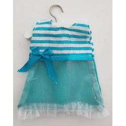 Robe lignée turquoise