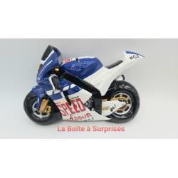 Moto de course bleue tirelire