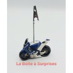 Moto de course bleue...