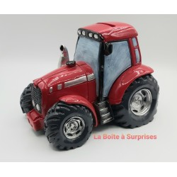 Tracteur rouge tirelire